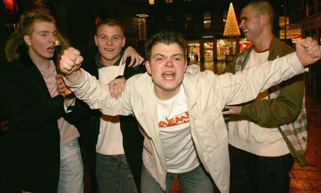 Young men binge drinking